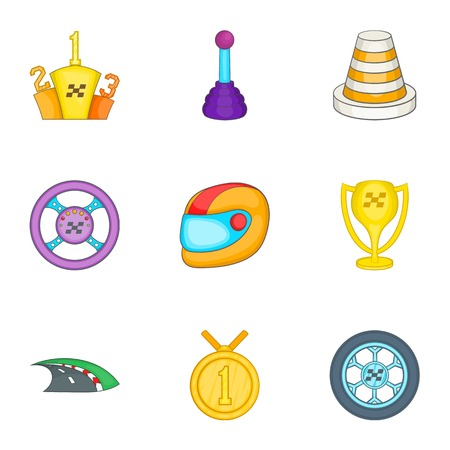 Racing accessories icons set, cartoon style Stock Photo