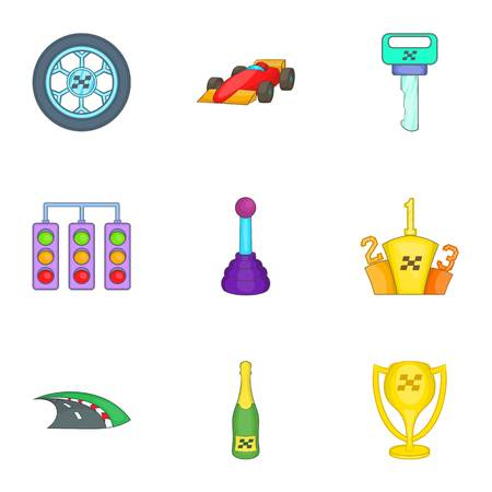 Association of racers icons set, cartoon style