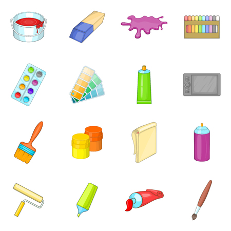 Painter tools icons set, cartoon style 스톡 콘텐츠