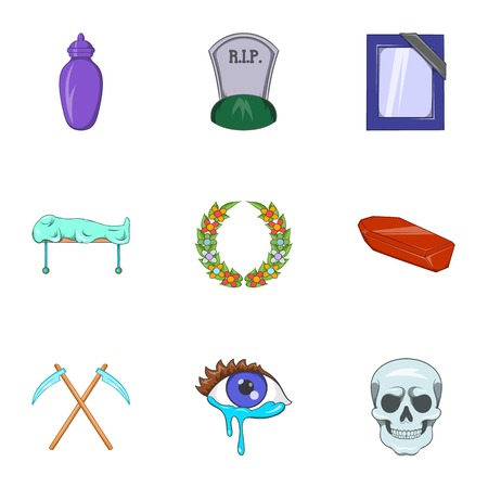 Death of person icons set, cartoon style