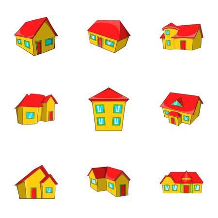 House icons set, cartoon style Stock Photo