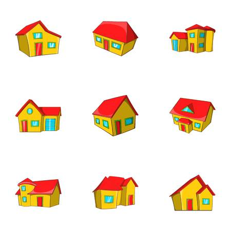 Structure icons set, cartoon style