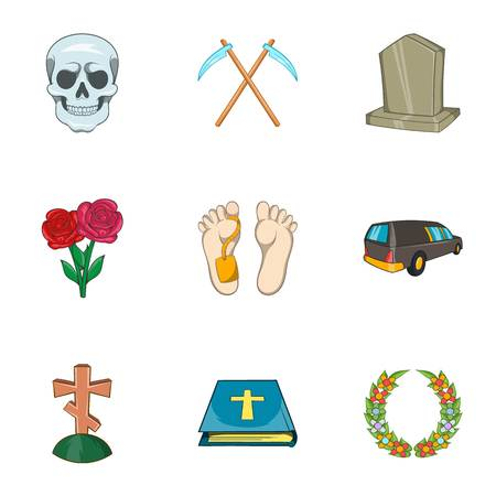 Funeral services icons set, cartoon style
