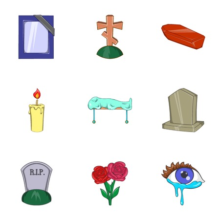 Burial icons set, cartoon style
