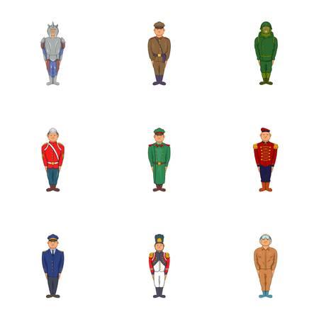 Military icons set, cartoon style