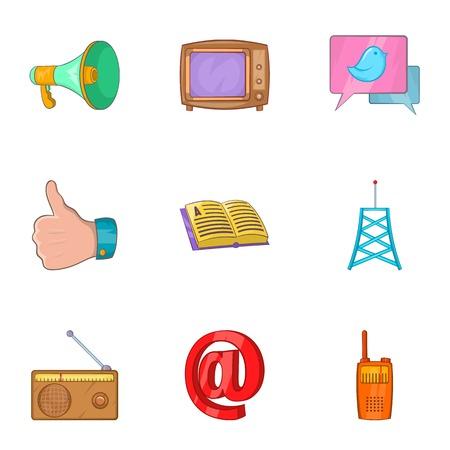 Tidings icons set, cartoon style