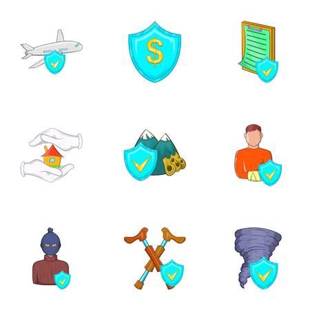 Accident icons set, cartoon style