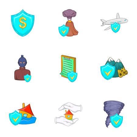 Crash icons set, cartoon style Stock Photo