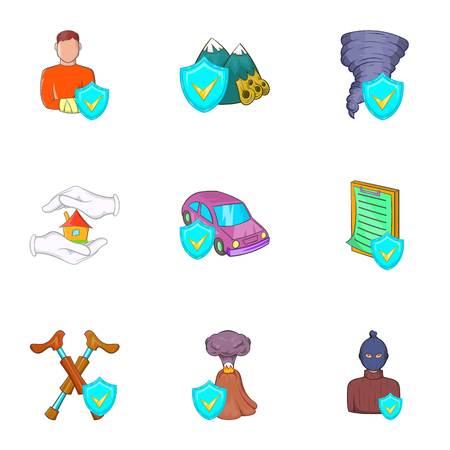 Incident icons set, cartoon style