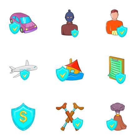 Emergency icons set, cartoon style