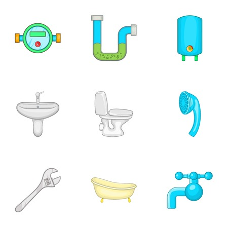 Sanitary appliances icons set, cartoon style 写真素材