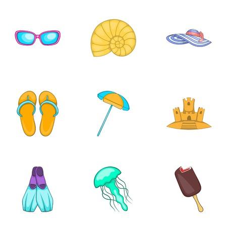 Coast icons set, cartoon style