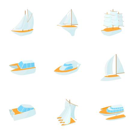 Yacht icons set, cartoon style
