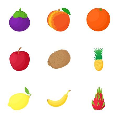 Farm fruit icons set, cartoon style