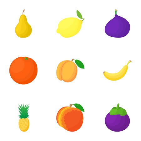 Fresh fruit icons set, cartoon style
