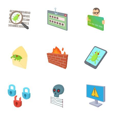 Hacking icons set, cartoon style Stock Photo