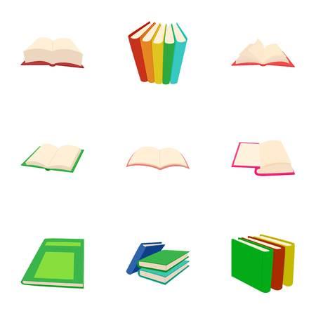 Textbooks icons set, cartoon style