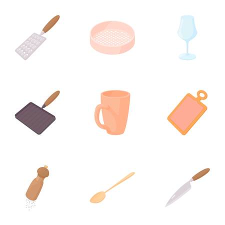Utensils for eating icons set, cartoon style