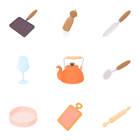 Cooking icons set, cartoon style 스톡 콘텐츠