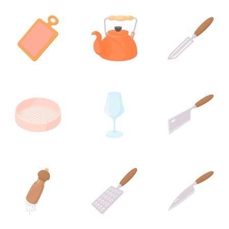 Food dishes icons set, cartoon style