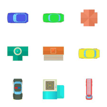 Top view of cars icons set, cartoon style Stock Photo