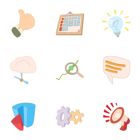 Statistical evidence icons set, cartoon style Banque d'images