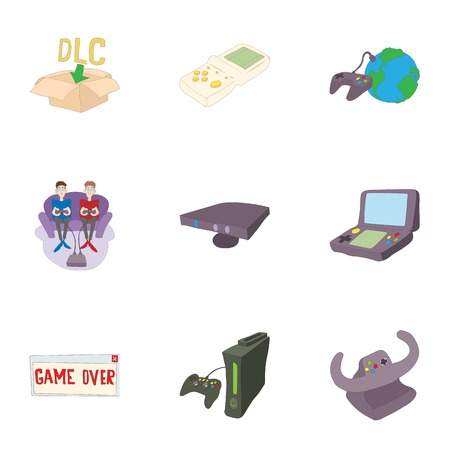 Game online icons set, cartoon style