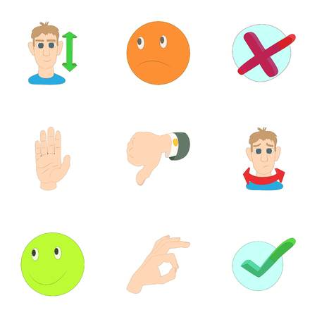 Button icons set, cartoon style Imagens