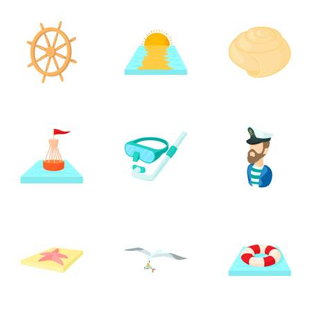 Sea icons set, cartoon style