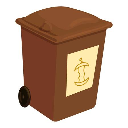 Brown trashcan icon, cartoon style