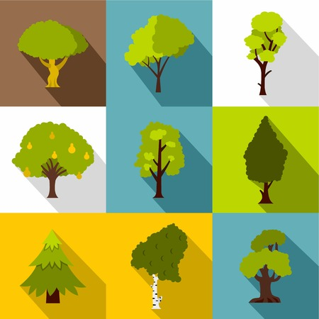 Kind of trees icons set, flat style