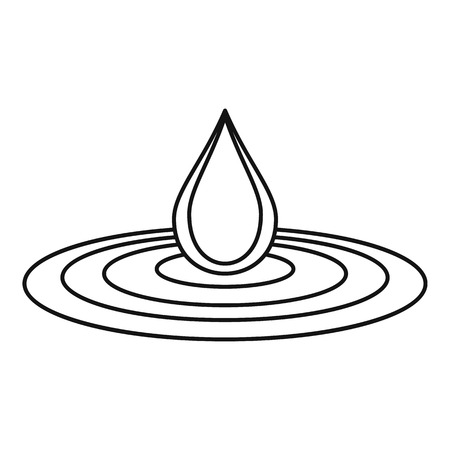 Water drop and spill icon, outline style