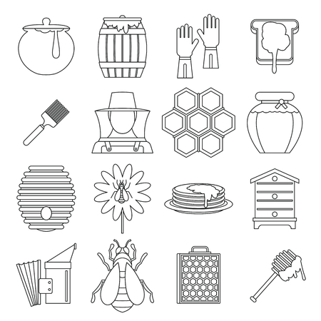 Apiary tools icons set, outline style