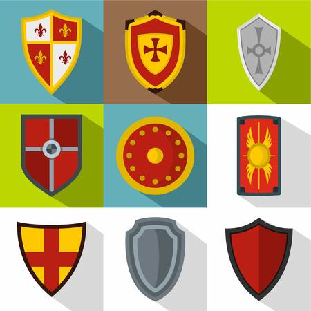 Military shield icons set, flat style Banco de Imagens
