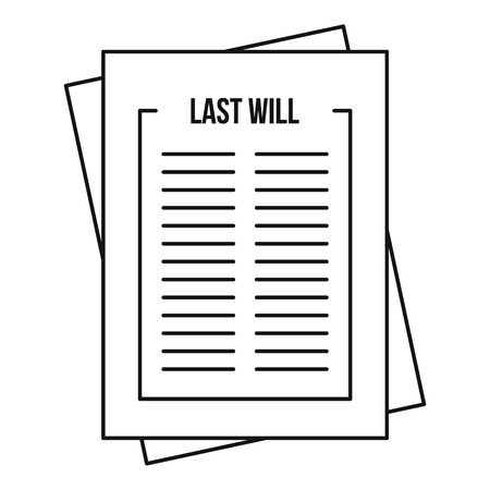Will icon, outline style Stock Photo