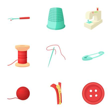 Embroidery icons set, cartoon style
