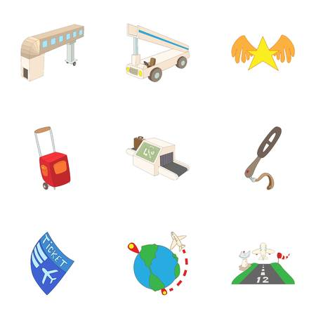 Airport check-in icons set, cartoon style Stock Photo