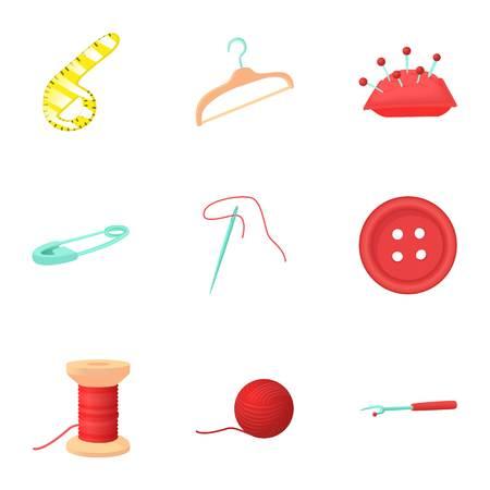 Needlework icons set, cartoon style Stock Photo