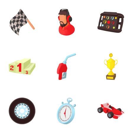 Machine race icons set, cartoon style
