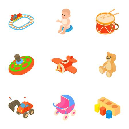 Toys for kids icons set, cartoon style