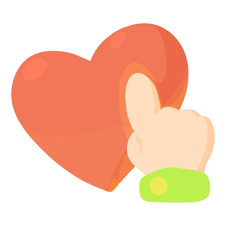 Heart touch icon, cartoon style