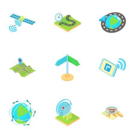 Navigation icons set, cartoon style