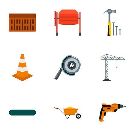 Repair icons set, flat style
