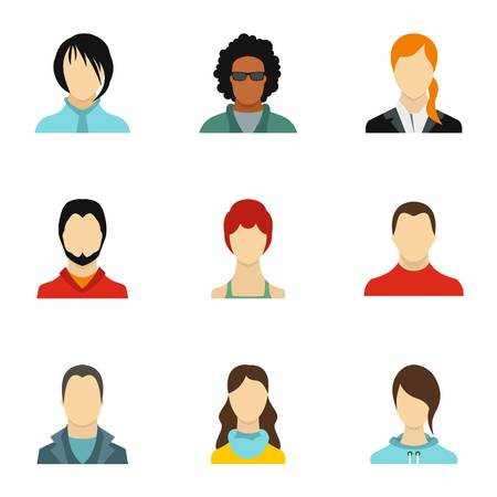 Avatar of different people icons set, flat style