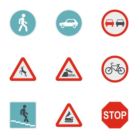 Sign warning icons set, flat style