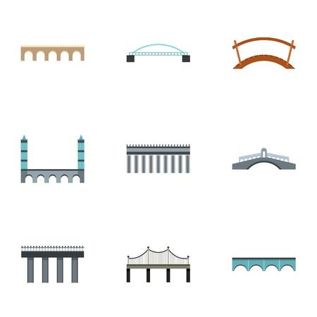 Facility for crossing river icons set, flat style