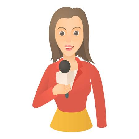 Speaking presenter icon, cartoon style