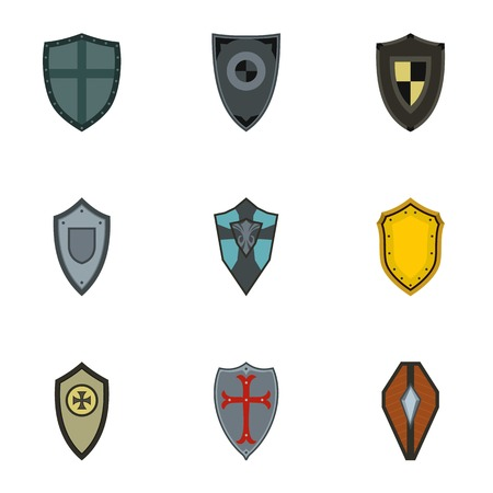 Military shieldd icons set, flat style