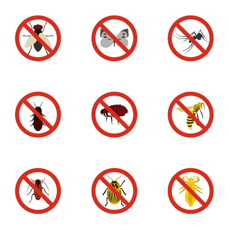 Insects sign icons set, flat style Stock Photo