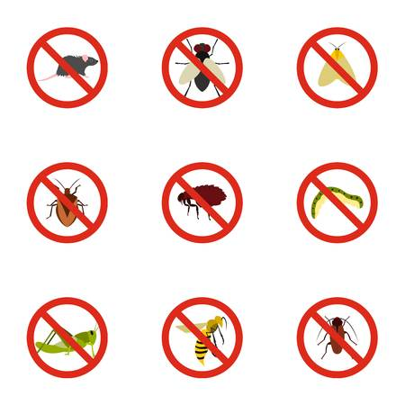 No insects icons set, flat style